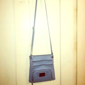 A baby blue purse